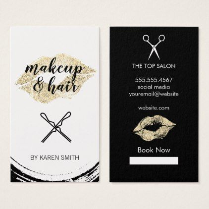 Gold Glitter Kiss / Makeup and Hair Business Card - hair stylist gifts business cyo diy custom create