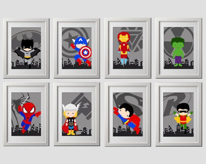 el arte de la pared de superhéroe IMPRESIONES, conjunto de 8, super héroe pared arte, vivero de superhéroe, arte de pared de dormitorio, 8 impresiones de alta calidad, entrega a su puerta!