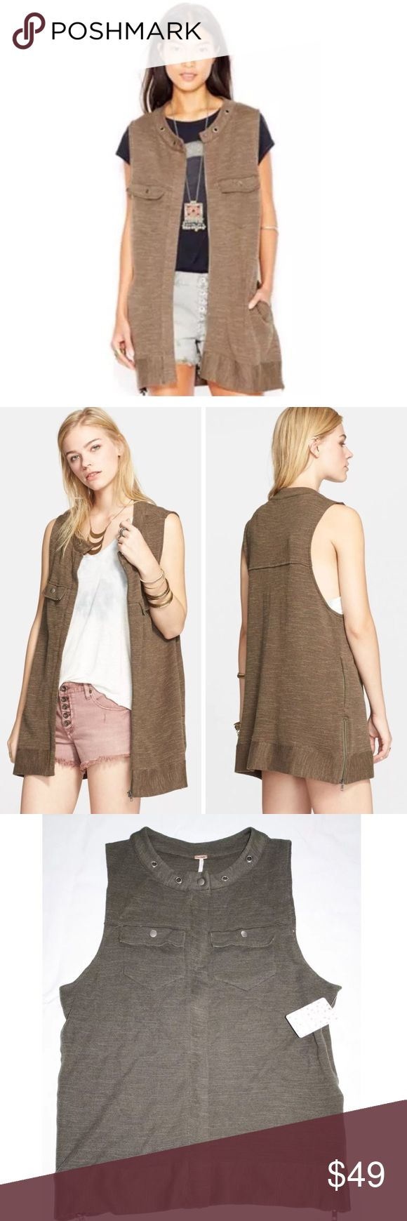 """FREE PEOPLE HIGHWAY ZIP front VEST JACKET TOP new FREE PEOPLE  Highway Zip Front Vest  $148 retail price  Brand new with tag  Color: Dark Olive ( please see photos of the actual vest laying flat its slightly darker than stock photo) Details:  A snap-button collar and chest flap pockets bring old-school style to this longline utility vest fashioned from a lightweight cotton blend. - Front zip closure - 60% cotton, 40% rayon - Hand wash cold, dry flat  Size Small:  armpit to armpit flat 22""""…"""