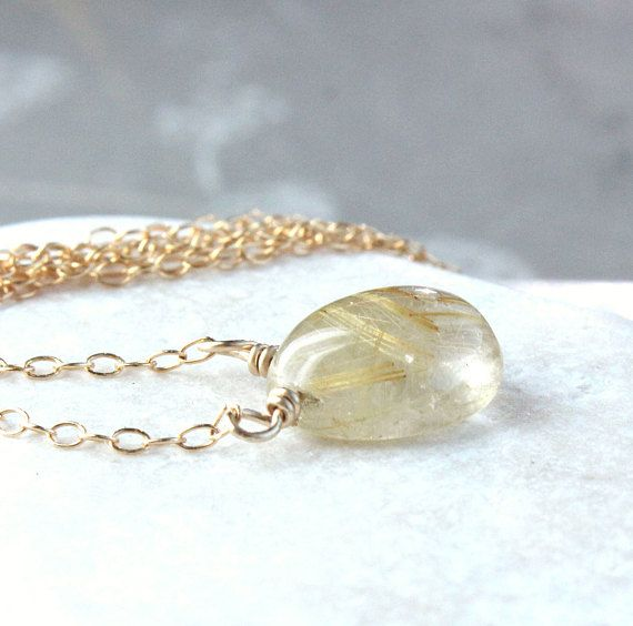 Golden Rutilated Quartz Necklace Gold Filled  Gemstone Jewelry