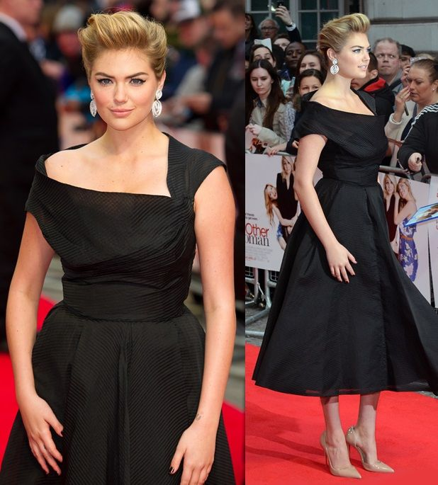Kate Upton channeling Grace Kelly and dressing like a lady for the premiere of The Other Woman in London, England, on April 2, 2014