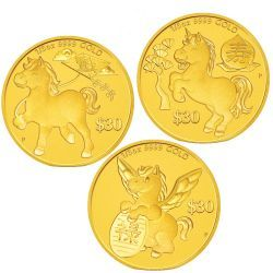 Chinese Astrological Series 2014 Year of the Horse 'Prosperity', 'Longevity' and 'Success' Three-Coin Set