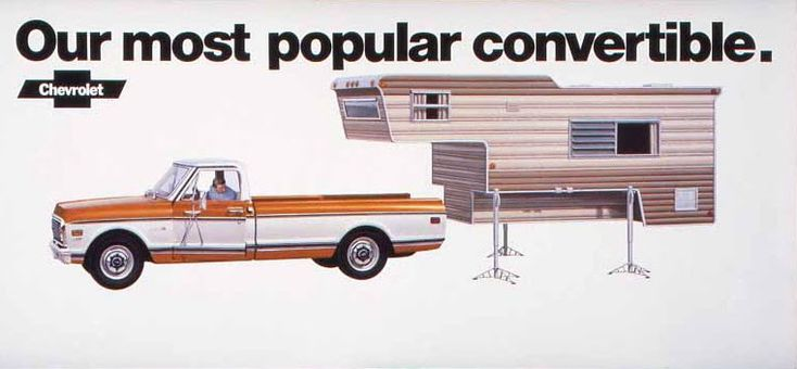 A nice take on the idea of a convertible. Especially if it is for a tough Chevy truck. Lots of Chevy dealers were in parts of the country wh...