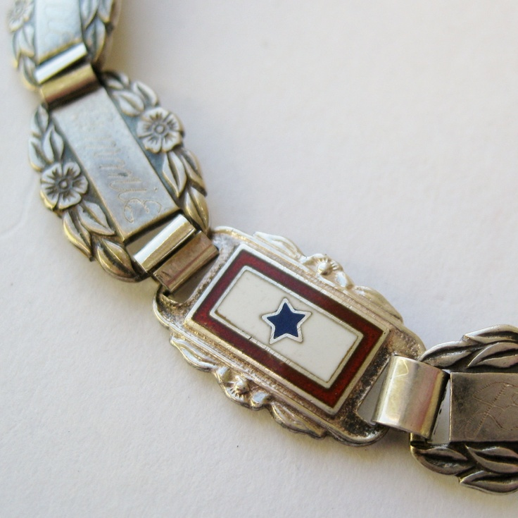 Vintage 40s WWII US Army Forget Me Not Sterling Silver & Enamel Sweet Heart Service Flag Bracelet. $95.00, via Etsy.