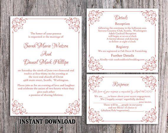 DIY Wedding Invitation Template Set Editable Word File Instant Download Printable Invitation Wine Red Wedding Invitation Elegant Invitation by TheDesignsEnchanted on Etsy