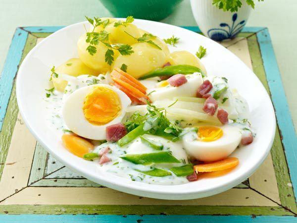Frühlingsgemüse - bunt und knackig-frisch - fruehlingsgemuese-mit-eiern  Rezept