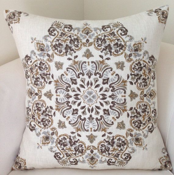 Neutral Pillow Cover Medallion Brown Pillow Cushion by nestables