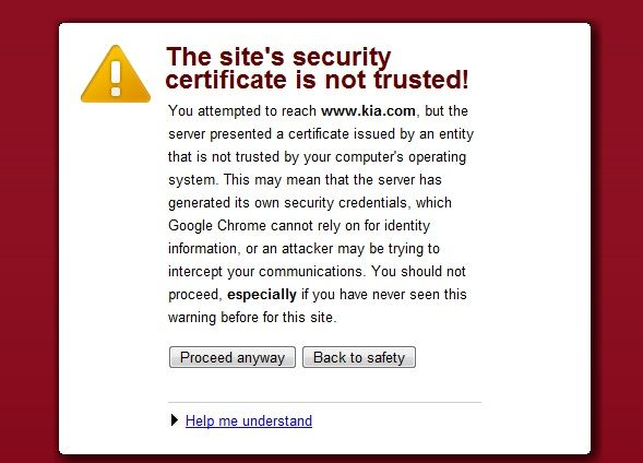 Security certificate error in Browser
