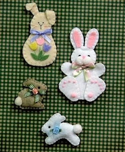 Little Bunnies Decorations, Magnets, Brooches - Wool Felt, Felt Appliqué Countryside Craft PATTERN