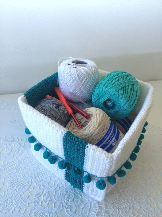 Crochet Basket Storage Organizer Home Decor Off-white by Dushle