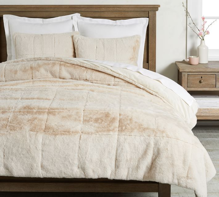Alpine Faux Fur Quilt Shams Quilted Sham Luxury Home Furniture Christmas Bedding