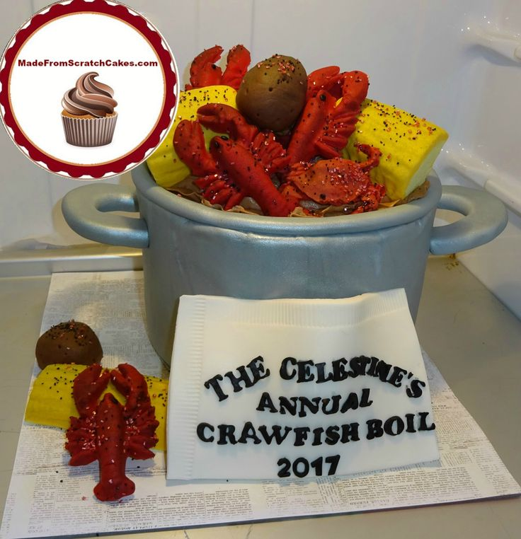 'Crawfish pot/boil': Vanilla cake with chocolate ganache filling, topped with chocolate buttercream; fondant decorations.