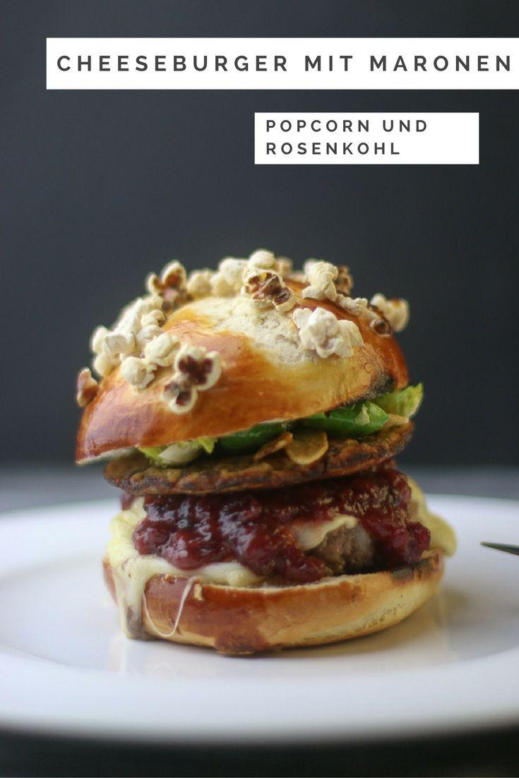 Weihnachtlicher Cheeseburger mit Maronen, Rosenkohl und Cranberrys