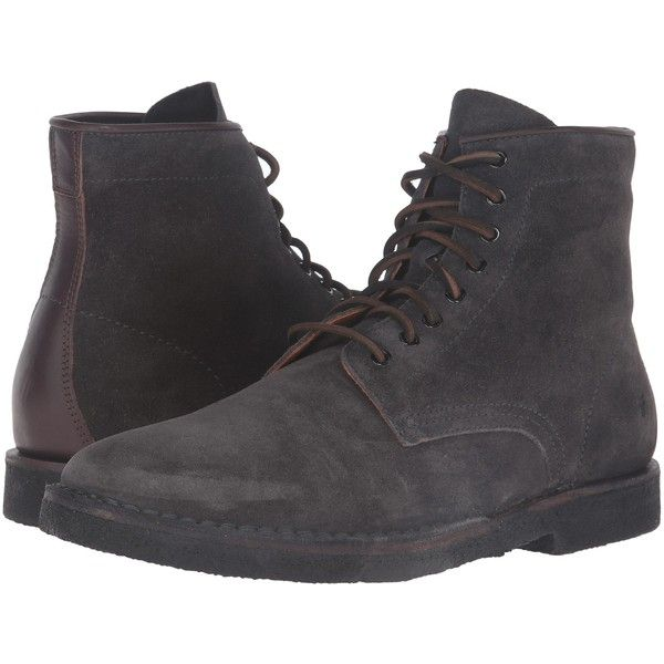 Frye Arden Lace-Up (Slate Oiled Suede) Men's Lace-up Boots ($140) ❤ liked on Polyvore featuring men's fashion, men's shoes, men's boots, black, mens lace up shoes, mens shoes, mens black lace up boots, mens lace up boots and mens suede lace up shoes