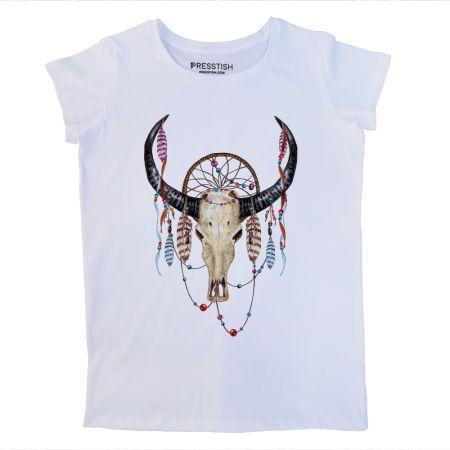 Boho Buffalo Skull - Beyaz Kadın Tişört