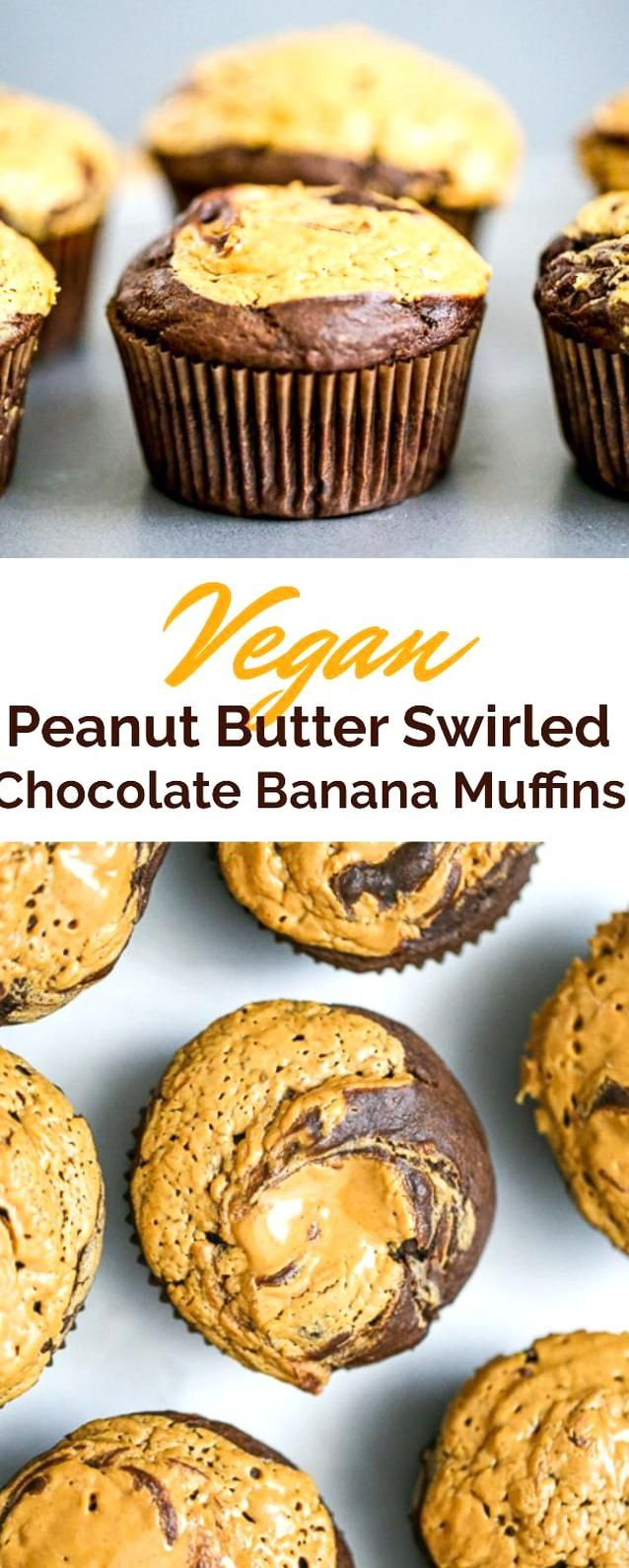 Heavenly Vegan Peanut Butter Swirled Chocolate Banana Muffins Are Definitely Worth Indulging Anytim In 2020 Chocolate Banana Muffins Vegan Peanut Butter Banana Muffins