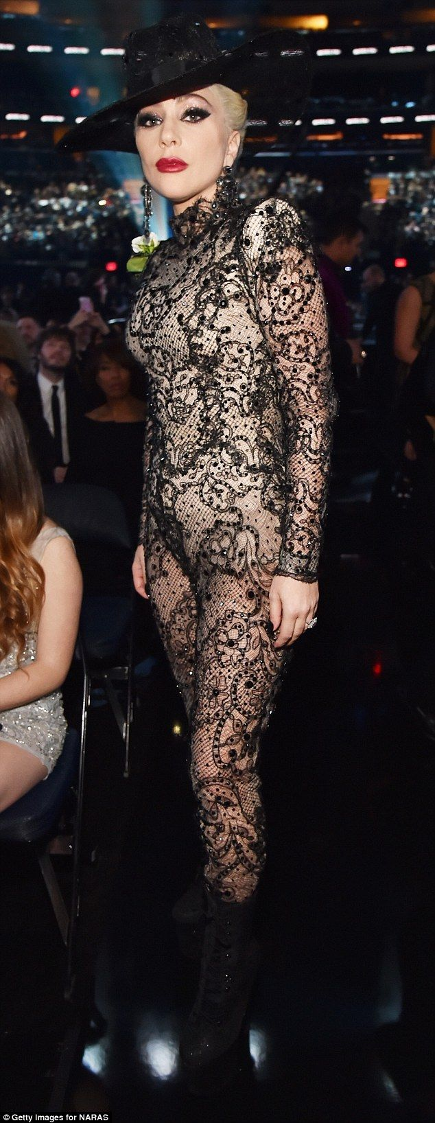 Grammys: Lady Gaga whips off dress to reveal lace bodysuit | Daily Mail Online