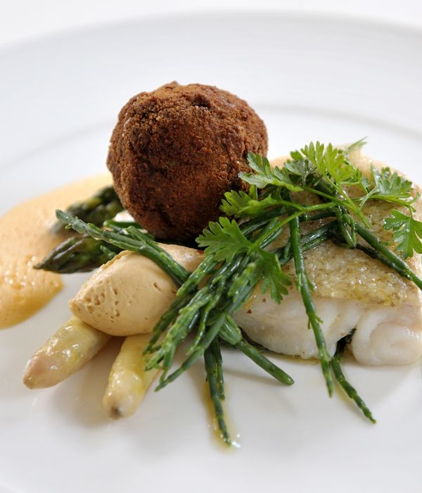 You need marsh samphire for this seared cod recipe to serve alongside little crab fritters, seasonal asparagus and pan-seared cod.- James Sommerin