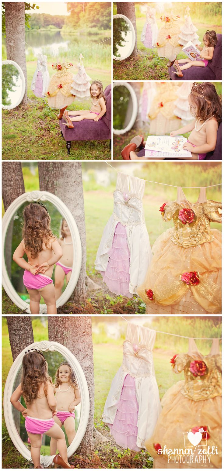 Princess Photoshoot.  I like the idea of this but with her wearing a slip of some sort.  Not sure if I like the first part with all the dresses as if she were getting ready or the second where she's dressed as a princess better...