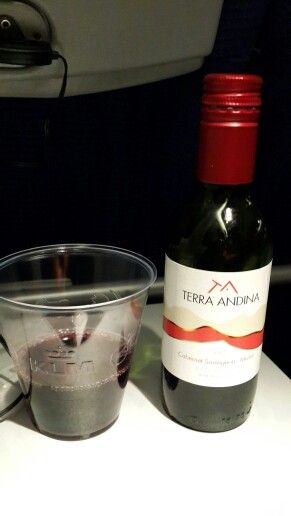 Drink wine in KLM Airlines