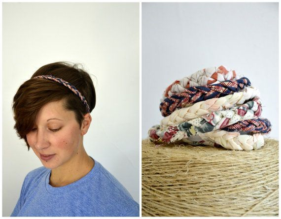 Braided Headbands - Handmade Recycled Fabric Hippie Gypsy Bohemian Gifts For Her Looks Great With Short Hair! #diyhairstylesshorthair