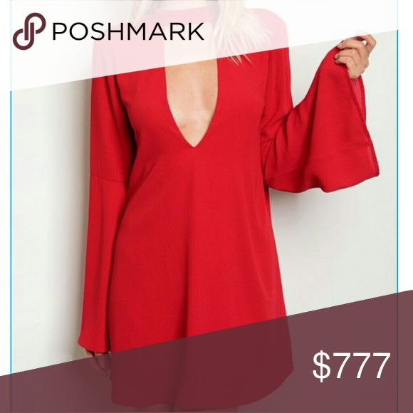 🚨Coming soon!!🚨 Coming soon! Will be $49 Brand new Price is firm Boutique item  Stunning red tunic dress with choker detail and deep vneckline and look at those flared bell sleeves!!! Grab this fabulous dress for any occasion!!     Vacation date night anniversary holiday gift present romantic cruise getaway party   Dresses