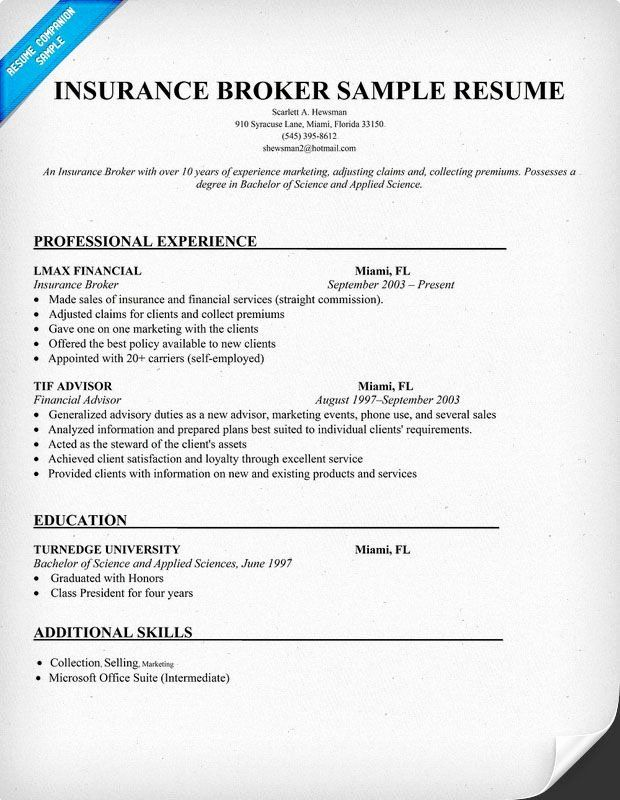 Insurance Agent Resume Examples Elegant Insurance Broker Sample