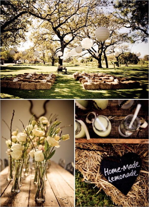 #Haystack #benches #country #wedding
