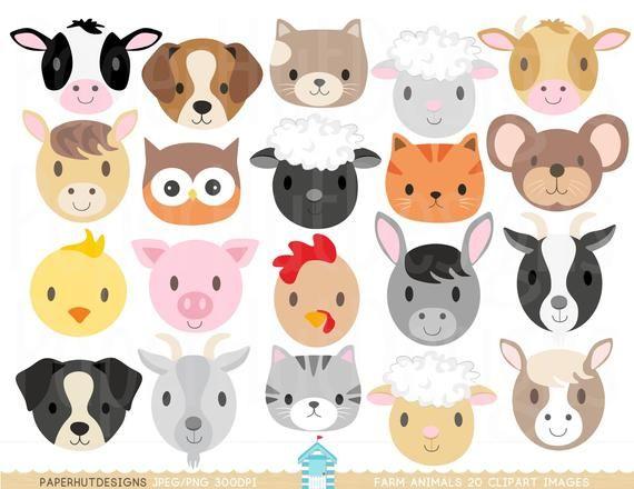 Farm Animal Faces Clipart Farm Animals Clip Art Nursery Clip Etsy Animales De Granja Bebes Artesanias De Animales De Granja Pintura De Animales De Granja