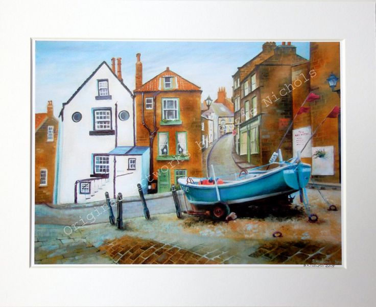 Giclee Print-A4 Quality Mounted Giclee Print of Robin Hood's Bay, Yorkshire - by Artist Suzie Nichols (art, painting, uk) - pinned by pin4etsy.com