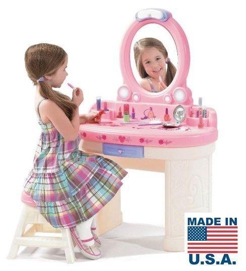 Kids Vanity Set Girls Makeup Table Mirror Stool Pink Furniture Pretend Play Toy #KidsVanitySet