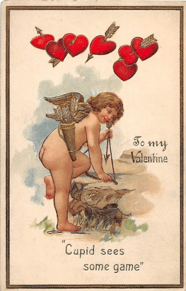 C78/ Valentine's Day Love Holiday Postcard c1910 Gold Lined Cupid Hearts 16