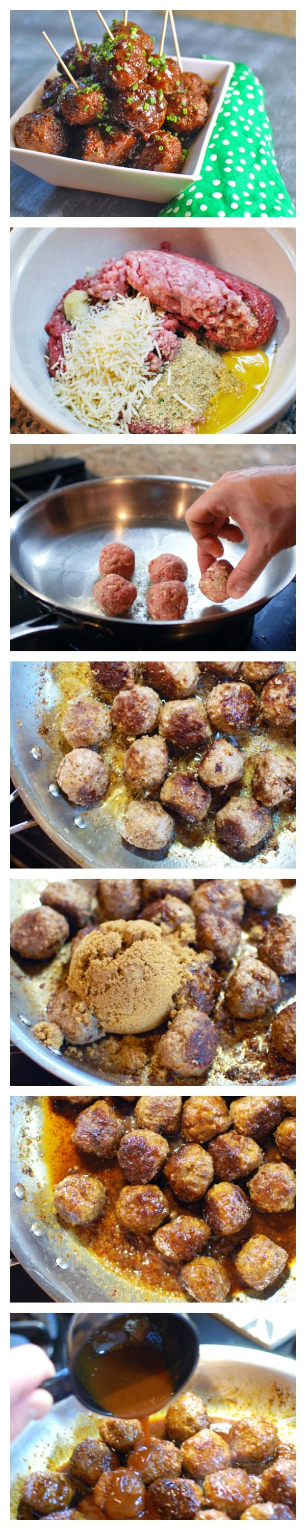 Sticky glazed meatballs that are sweet, savory and just a little spicy. A perfect football party treat!