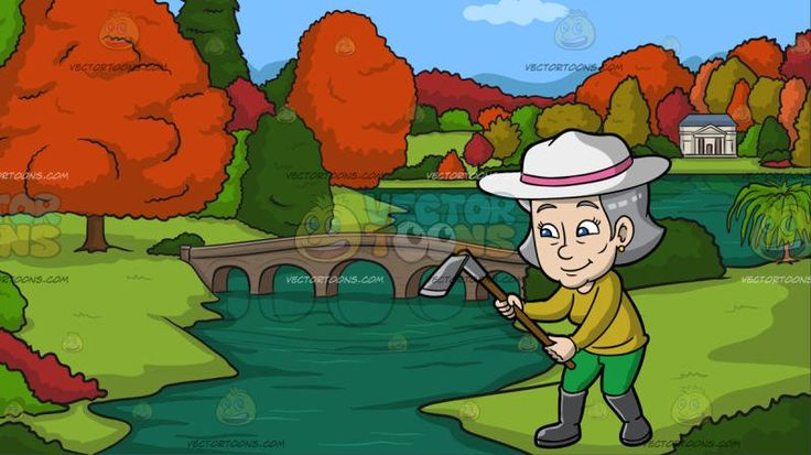 A Mature Woman With A Digging Tool At A River During Autumn:  A mature woman with gray hair wearing a white hat with pink band gold earrings olive green sweatshirt green pants dark gray boots smiles while holding a digging tool with brown handle in her hands. Set in a landscape view of orange and green trees green grass a bridge over a green river and a white house with blue roofing during a nice day.