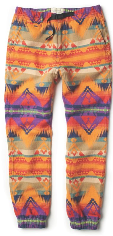 The patterned hiking pant from Denim & Supply Ralph Lauren: A vivid spin on hiking styles, this brushed-cotton-jacquard pant is designed with a Southwestern-inspired pattern. The webbed belt provides an adjustable fit.
