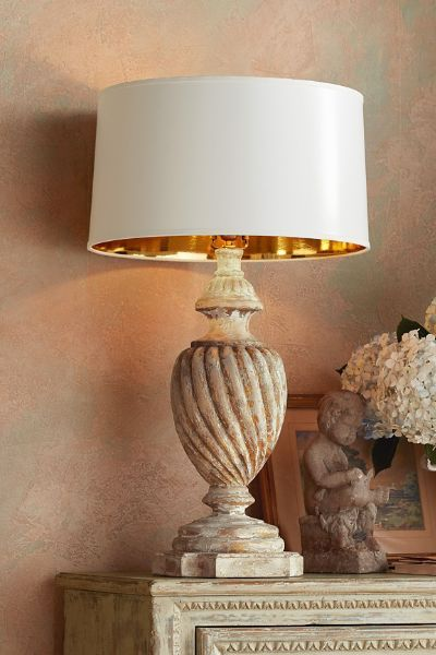 From soft surroundings · our hand carved helette table lamp is accented with a gold interior and crystal finial