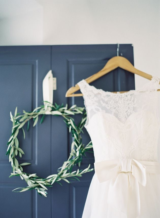 Olive Wreath and gorgeous Amsale Wedding Dress in Santorini -  Greece. Wedding by Stella & Moscha - Photo by Jen Huang