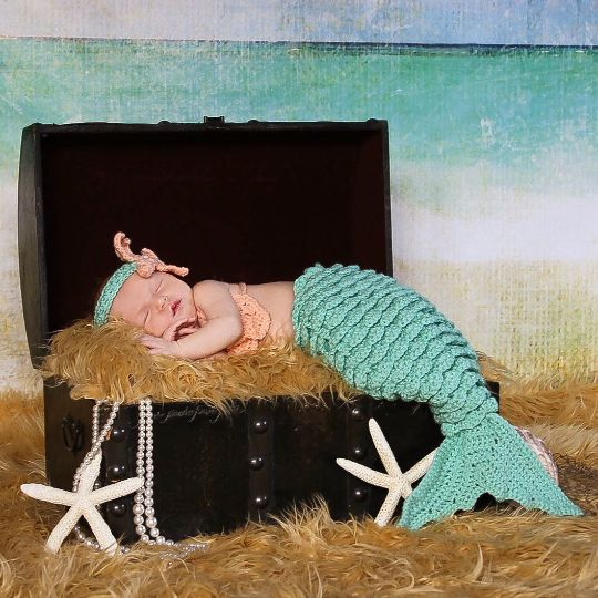 Crochet Baby Mermaid Tail Shell Bikini Top Starfish Headband Photography Prop Set Baby Infant Toddler Handmade Girl Baby Shower Gift Costume - Red Lollipop Boutique