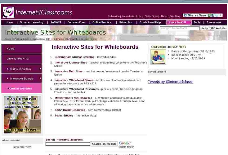 Great Interactive Sites that can be used with IWB!    A great list of interactive sites that support white boards from Internet4Classrooms.
