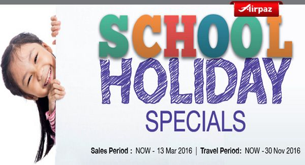 Cant wait till School Holiday ? We have special offer for you. Take your loved ones to go traveling with Malindo Air School Holiday Special Promotion on Airpaz. Take your family to fly across Asia's beautiful city such as Bangkok, Bali, Hong Kong, Jakarta, Langkawi, Perth, Singapore, and many other great traveling destination.