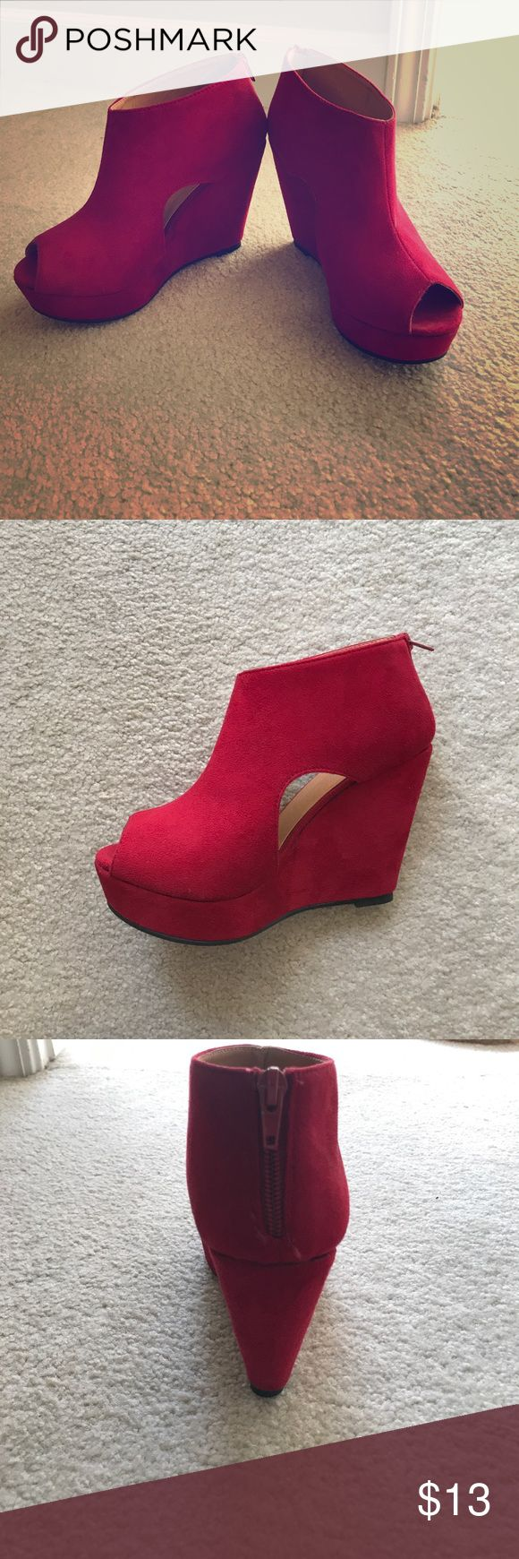 Women's red platform wedge shoes Red platform wedge shoes with side cut outs. Us women's size 8 only worn once! Cotton On Shoes Wedges