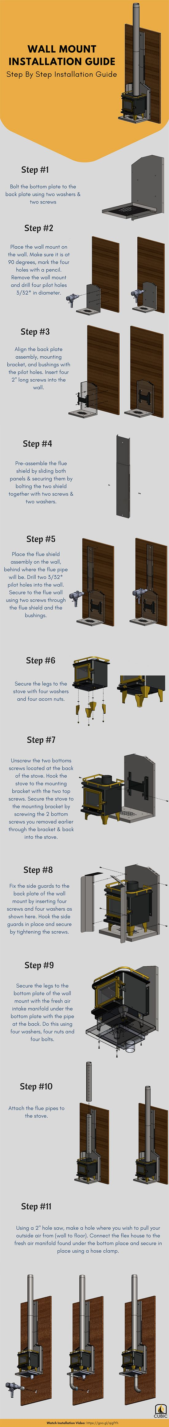 Cubic Mini Wood Stoves provide step by step wall mount installation instructions guide for all of you to easily install the cub and grizzly stoves.