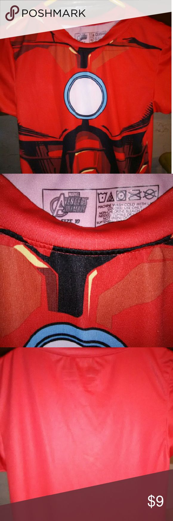 Size 10 kids stretch costume,PJ light weight Shirt Size 10 Iron man,marvel kids top,can be for every day to day usage,costume,or Pj top,i actually have a super hero shirt that i adore its a joker one,so not only can your kids get into having fun,if u shop around u could always be a classical marcel matching family and enjoy a fun day.this shirt is size 10,no holes,tares,marks,burns,pet free,odor free,made in china ,90 percent polyester,10%spandex Marvel Shirts & Tops Tees - Short Sleeve