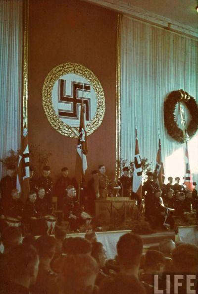 Hitler Youth leader Baldur von Schirach gives a speech during an HJ rally. 1938.