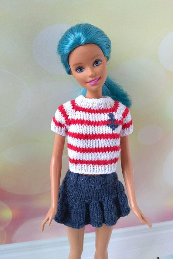Barbie doll clothes hand-knitted sweater white & red stripes