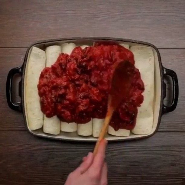 Vegan Recipes On Instagram Vegan Enchiladas With Sweet Potato Fries Inside By Bosh Tv Ingredients Vegan Enchiladas Vegan Recipes Easy Stuffed Peppers