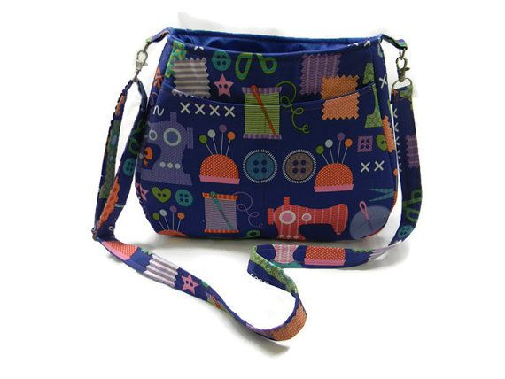 A roomy purse for knitters, crotchers or sewists (seamstress?) Adjustable cross body purse!  Check out this item in my Etsy shop https://www.etsy.com/listing/272331682/needle-and-thread-cross-body-purse