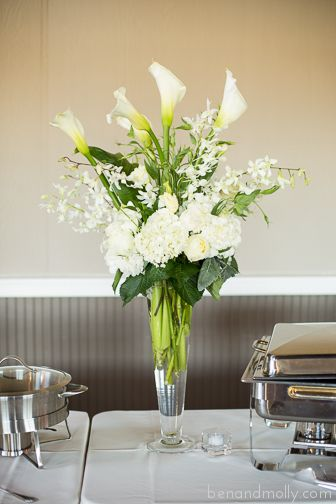 Dining In The Dark London >> High end wedding. White reception table arrangements. Calla lilies, orchids, hydrangeas, roses ...