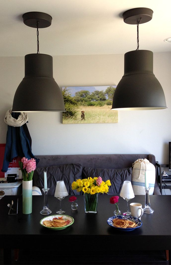 loving my ikea hektar pendant lights in the dining room. Black Bedroom Furniture Sets. Home Design Ideas