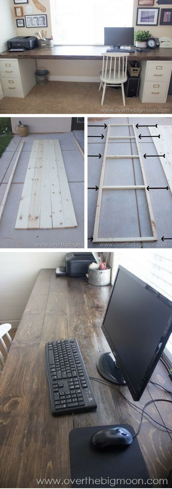 22 DIY desk examples - Check out the tutorial how to build a DIY desk from file cabinets and wood planks @istandarddesign